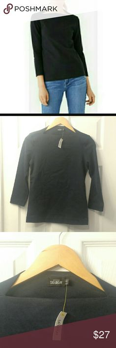 *Sale!*NWT Kate Spade Saturday Slip Neck Shirt Kate Spade Saturday Slip Neck 3/4 Sleeve Shirt in the size XS, color Ink/Blue. Only tried on once, still NWT! Offers are welcome! kate spade Tops