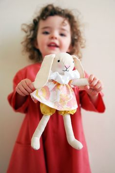 The spring bunny fabric soft toy for kids free sewing pattern and tutorial