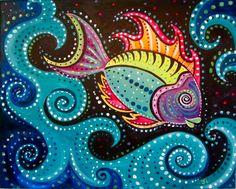 Acrylic Canvas - Aboriginal Fish- Source: Painting with a Twist