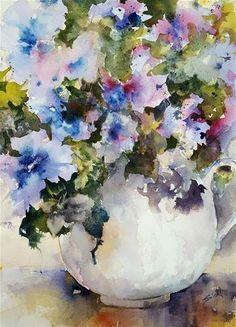 "Daily Paintworks - ""Petunia-esque"" - Original Fine Art for Sale - © Sue Dion"