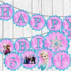 FROZEN PRINTABLE Banner Alphabet Symbols numbers Frozen Character Wall Decor #Disney #BirthdayAdult