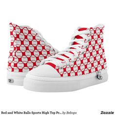 Red and White Balls Sports High Top Printed Shoes. Custom Zipz. Producto disponible en tienda Zazzle. Calzado, moda. Product available in Zazzle store. Footwear, fashion. Regalos, Gifts. Link to product: http://www.zazzle.com/red_and_white_balls_sports_high_top_printed_shoes-256483368782887036?CMPN=shareicon&lang=en&social=true&rf=238167879144476949 #zapatillas #shoes