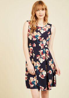 I Rest My Grace A-Line Dress in Brushstroke Blossom, #ModCloth