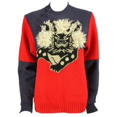 1980's Kansai Yamamoto Komainu Sweater | From a collection of rare vintage sweaters at http://www.1stdibs.com/fashion/clothing/sweaters/