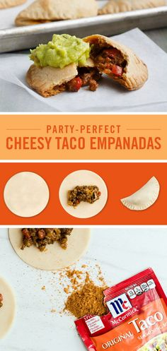 Serve up these taco empanadas at your next fiesta. This Cinco de Mayo recipe is made with refrigerated pie crust and filled with meat and cheese that's been flavored with McCormick Original Taco Seasoning Mix. They're the perfect party appetizer for feeding a crowd.