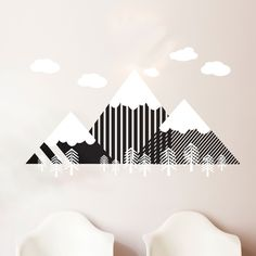Modern Geometric Mountain and Forrest Scene - Wall Decal Custom Vinyl Art Stickers for Nurseries, Classrooms, Homes, Kids Rooms, Dorms | Dana Decals