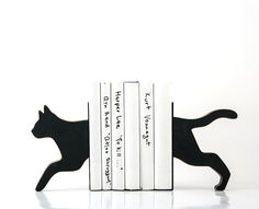 Bookends - Running Cat - special wooden edition of our popular bookends for your books // FREE WORLDWIDE SHIPPING