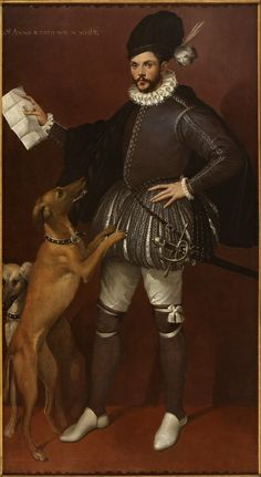 Bartolomeo Passarotti, Italian, Portrait of a Cavalier aged 23 years, with His Hunting Dogs, ca. x cm (Hey look - you can see the seam on his shoes. Costume Renaissance, Elizabethan Costume, Renaissance Portraits, Renaissance Fashion, Italian Renaissance, Elizabethan Clothing, Historical Costume, Historical Clothing, La Madone