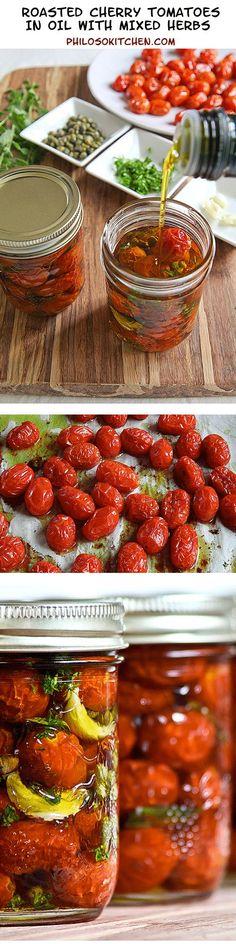 Tomates cerises dans l'huile