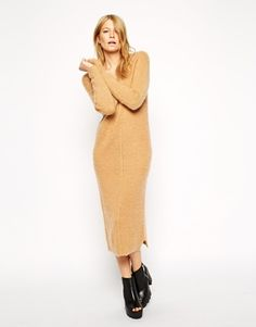 ASOS Midi Dress in Brushed Mohair Knit