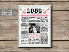 Australian - Birthday Poster, Newspaper, 60 Years Ago, Birthday Gift Personalised Photo Poster Floral Digital Printable File This listing is for a digital file that you print yourself or have printed at a printing/photo printing store. Birthday Gift Baskets, 60th Birthday Gifts, Personalized Birthday Gifts, Birthday Ideas, In The Year 2525, One Design, How To Memorize Things, Newspaper, Handmade Gifts