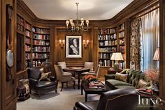 The library holds a cushy sofa and leather chairs designed by Dunnam to further its clubby British demeanor. A Chinese Chippendale games table from Gerald Bland in New York sits with mid 18th-century George II library chairs from George N Antiques, also in New York.