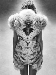 """""""Minautore"""" fur - dress by Yiqing Yin collection FW 2011, photo by Laurence Laborie, make up by Violette/Guilaine Frichot, hair by Cyril Laloue"""