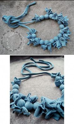 As you go on your fashion jewelry making journey, you'll find that you will often encounter wires. Fashion jewelry makers, the imaginative lot, have actually discovered many ways to incorporate them in pieces in different ways. Diy Fabric Jewellery, Scarf Jewelry, Textile Jewelry, Beaded Jewelry, Handmade Jewelry, Fabric Necklace, Diy Necklace, Necklaces, Denim Flowers