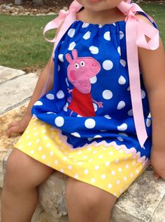 Peppa Pig dress I had made ( from Etsy) for my daughters Birthday. Peppa Pig Birthday Outfit, Peppa Pig Outfit, Peppa Pig Dress, 3rd Birthday, Birthday Party Themes, Birthday Ideas, Painted Canvas Shoes, Pig Party, To My Daughter