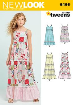 Young girls will love this cool, flowing maxi dress for the summer - pair with sandals and a floppy sun hat. #NewLook #sewing #pattern 6466