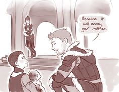 critter-of-habit.tumblr: I wanted Alistair to be able to interact with Morrigan and Kieran so badly