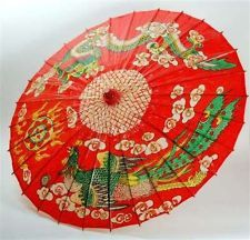 """Chinese Red Oil Paper Parasol Dragon Phoenix Traditional Oriental Umbrella 30"""""""
