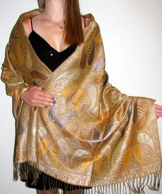 Dressy shiny pashmina shawl is in style for an evening event / occasion. Love pashminas with sheen paisley beauty and a thicker ply.