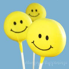 Simple Smiley Face Lollipops made from Oreo Cakesters