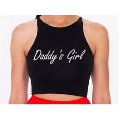 Daddy's Girl Crop Top S-L (70 PEN) ❤ liked on Polyvore featuring tops, black, crop tops, women's clothing, crop shirts, black crop top, crop top, shirts & tops and black shirt