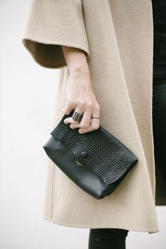 Beige Soft Trench & Black Leather Handbag