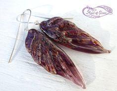 fairy wing earrings in amethyst lampwork glass by MaidOfGlassOnEtsy
