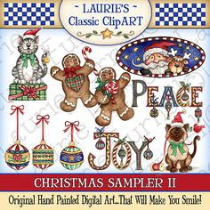 Christmas Sampler II Digital Art by lauriefurnelldesigns on Etsy