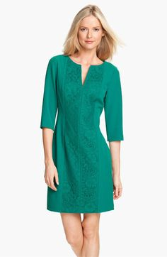 Adrianna Papell Lace Inset Crepe Dress | Nordstrom