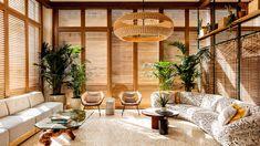 Studio Collective Designs Hotel June in LA's Playa Del Ray Neighborhood | Boutique Design Edition Hotel, Hotel Branding, Curved Sofa, Terrazzo Flooring, Design Hotel, Lounge Design, Architectural Digest, Mid Century Design, Best Hotels
