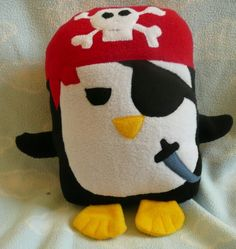 Plush Pirate Penguin Pillow Pal PLACE YOUR by AnitaKleinDesigns. $22.00, via Etsy.