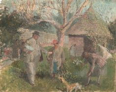 Evelyn Dunbar - The Dunbar family in the Garden at The Cedars, Spring (Version 1), c.1928 (HMO 75)