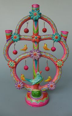"""Vintage ceramic Mexican tree of life from Puebla 17 1/2"""" tall"""