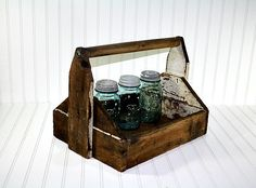 Vintage Wooden Caddy / Wooden Tool Box / by HuntandFound on Etsy, $52.00