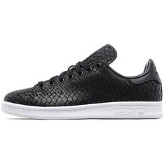 adidas Originals Stan Smith Snake Women's (140 AUD) ❤ liked on Polyvore featuring shoes, black, traction shoes, tennis shoes, black shoes, snake shoes and snakeskin shoes
