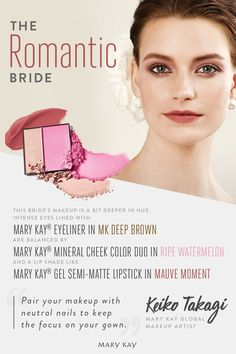 Romantic bridal makeup perfect for a formal evening wedding. Get the look by balancing intense eyeliner with soft, pink blush and lipstick in a slightly deeper hue. | Mary Kay