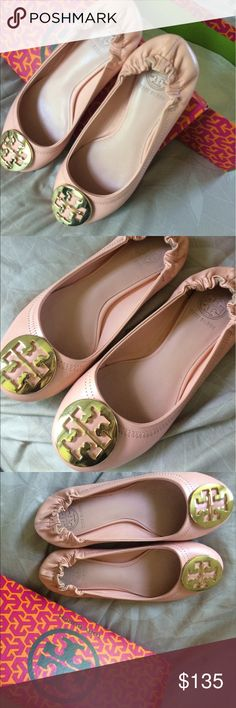 Tory burch reva flat SAME DAY SHIPPING, COLOR PINK, USED ONLY ONCE, COME IN BOX ,SIZE 36 Tory Burch Shoes Flats & Loafers