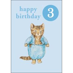 Tom+Kitten+-+Tom+Kitten+Age+3+Birthday+Card+with+Badge