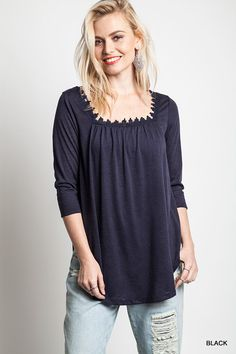 Lace Trim Cotton Tunic - Three Colors Available - Arrives 2/5