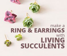 If you're looking to create jewelry that will make a statement, these stunning succulent earrings and ring are easy to make and sure to catch people's eye!