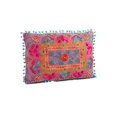 Karma Living Botanical Crewel Embroidered Rectangular Pillows ($68) ❤ liked on Polyvore featuring home, home decor, throw pillows, embroidered throw pillows, paisley throw pillows, floral throw pillows, floral home decor and rectangle throw pillow