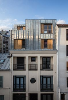 Parasitic Architecture, Metal Facade, Mansard Roof, Roof Extension, Attic Apartment, Pent House, Loft, Interior Architecture, House Design