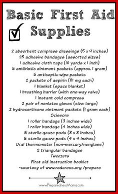 First Aid Kit. These are some basic first aid supplies that you should have in case of any emergency. If you want to know how to create a practical first aid kit for the everyday and the extreme,. Basic First Aid Kit, Diy First Aid Kit, First Aid Kit Supplies, First Aid Tips, Camping First Aid Kit, First Aid Kit Checklist, Survival Life, Survival Prepping, Survival Skills