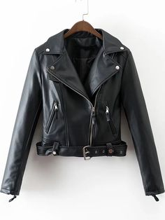 Shop Black Oblique Zipper PU Jacket With Belt online. SheIn offers Black Oblique Zipper PU Jacket With Belt & more to fit your fashionable needs.