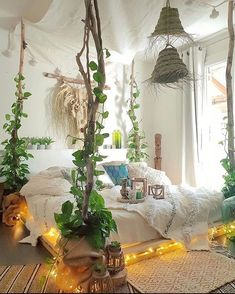 QUOTES AND PICTURES🎬📸 (Posts tagged bohemian) Crystal Room Decor, Crystal Bedroom, Bedroom Plants Decor, Home Decor Bedroom, Bedroom Ideas, Bed Ideas, Bedroom Inspo, Solid Wood Bed Frame, Room With Plants
