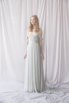 Thalia Gown in dove grey - Alexandra Grecco Bridal... @juleps suddenly i miss playing with dresses every day of my life!