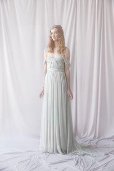 Thalia Gown in dove grey - Alexandra Grecco Bridal model: Karley Parker