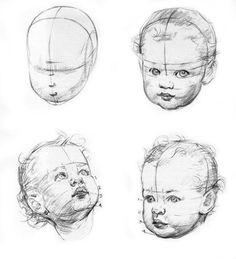 New baby face drawing sketch ideas Pencil Art Drawings, Realistic Drawings, Drawing Sketches, Drawing Tips, Drawing Drawing, Drawing Reference, Face Proportions Drawing, Pencil Sketching, Drawing Lessons