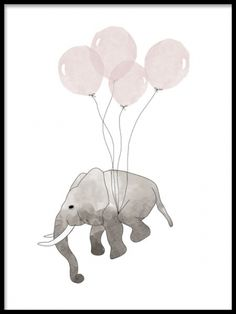 Poster with an illustration of an elephant and balloons. A really nice print for a child's room. Cute kids prints and posters for kids, kids room. With us you can buy your kids poster and prints easily online. Flying Elephant, Small Elephant, Baby Posters, Room Posters, Poster 40x50, Desenio Posters, Baby Elefant, Blue Poster, Kunst Poster