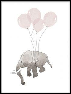 Poster med flygande elefant och rosa ballonger. Gulliga tavlor till barnrummet. Tavla med grå elefant med rosa ballonger.